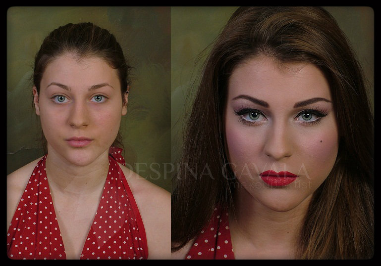 50's makeup before and after